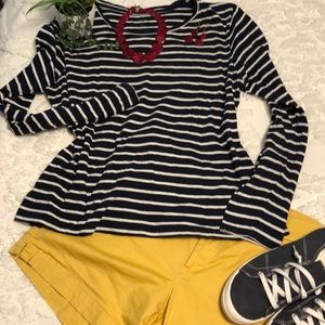 Scoop Neck Navy and White Striped Shirt